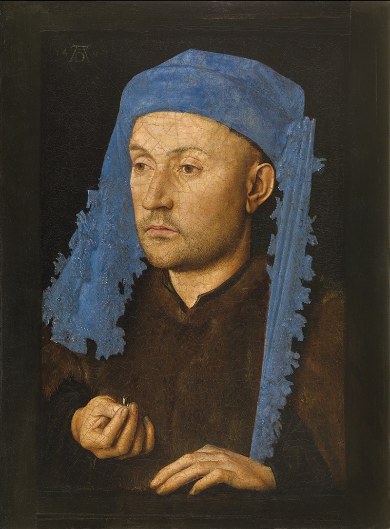 Jan van Eyck, Portrait of a Man with a Blue Chaperon, circa 1428–30
