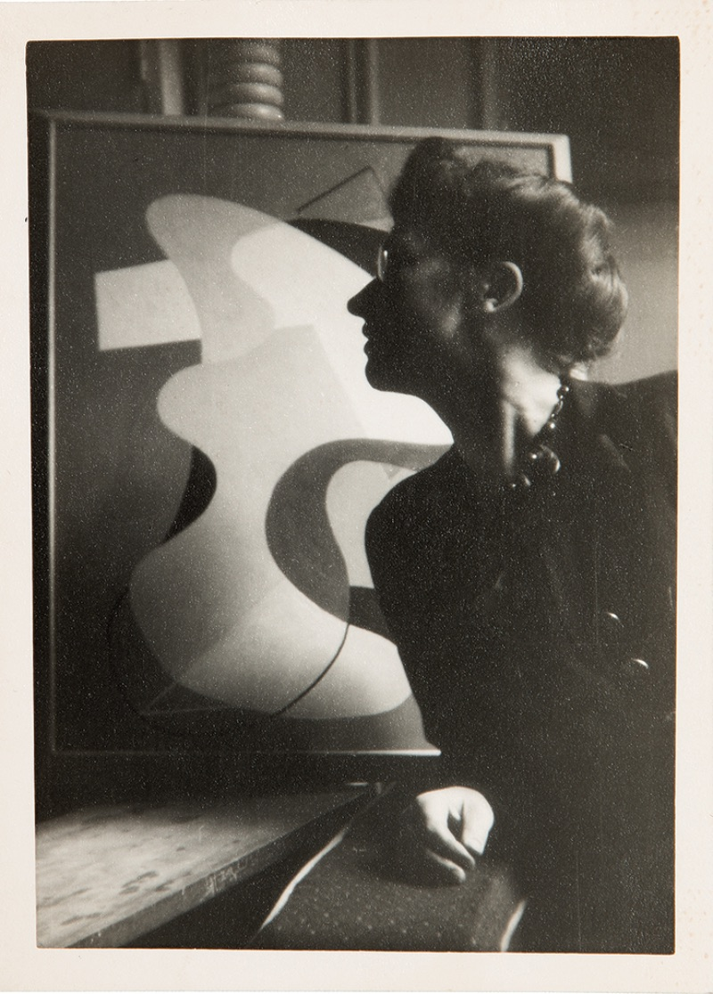 Alice Trumbull Mason with her painting The Yellow Ochre Ground (1942)
