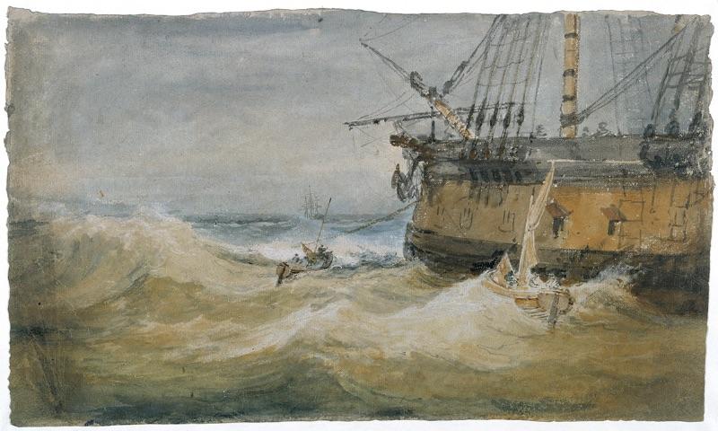 J.M.W. Turner, Small Boats beside a Man-o'-War, 1796–97