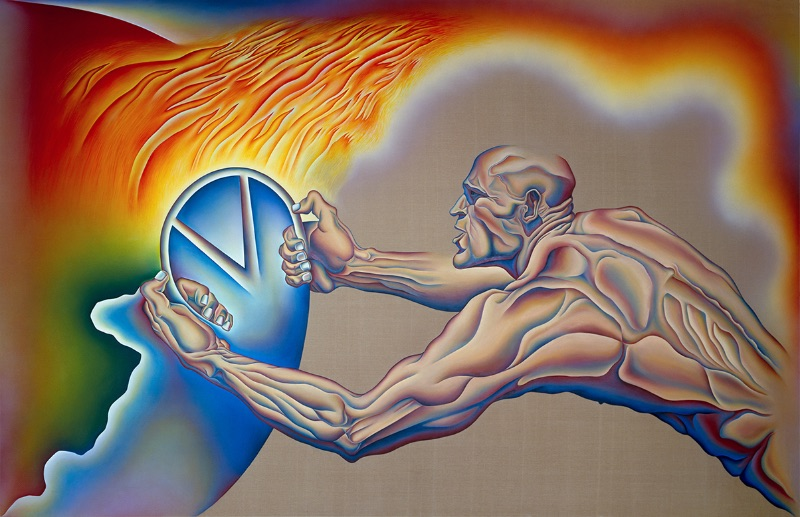 """Judy Chicago, Driving the World to Destruction, from the series """"PowerPlay"""", 1985"""