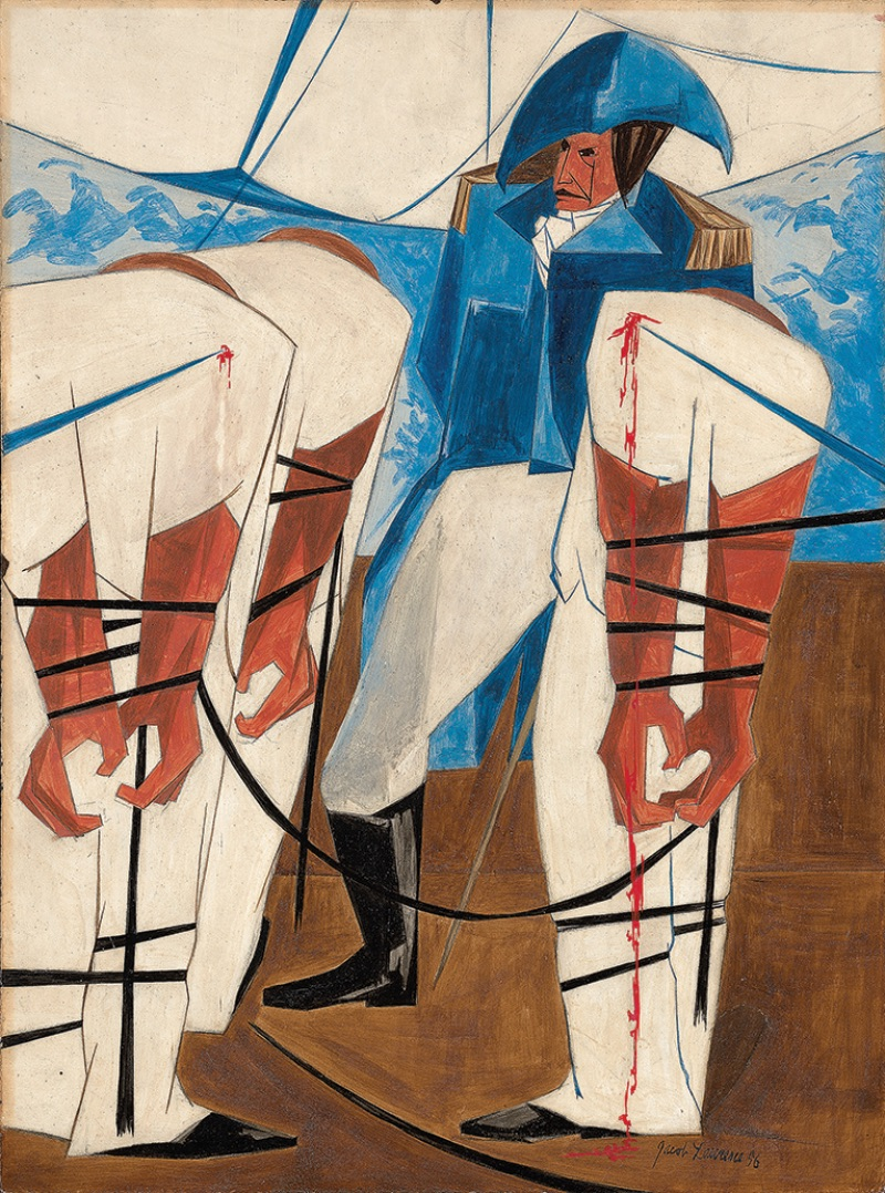 Jacob Lawrence, Thousands of American citizens have been torn from their country and from everything dear to them: they have been dragged on board ships of war of a foreign nation. —Madison, 1 June 1812, Panel 19, 1956